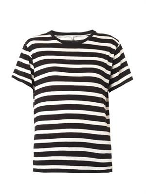Striped cotton and cashmere T-shirt