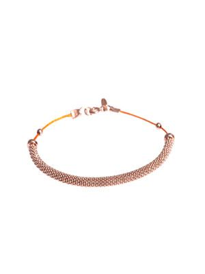 Rose gold-plated bar & cord bracelet