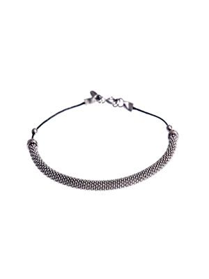 Oxidised-silver bar & cord bracelet