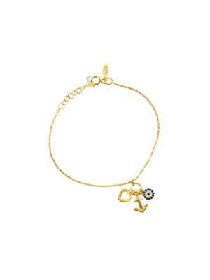 Anchor, heart and Nazar charm bracelet