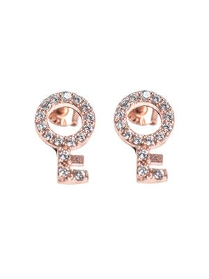 Zircon & rose gold-plated key earrings