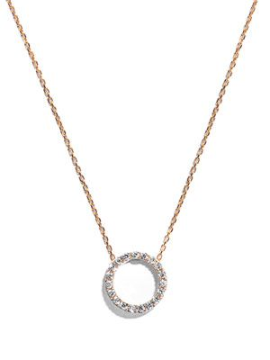 Circle zircon and gold-plated necklace