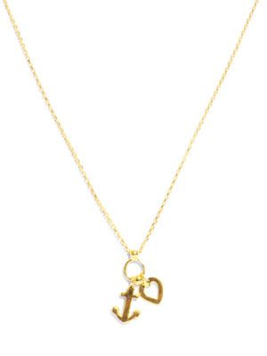 Heart and anchor gold-plated necklace