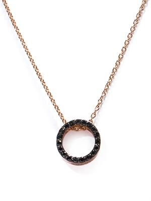 Onyx & rose gold-plated necklace