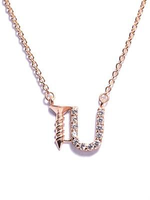Screw U rose gold-plated necklace