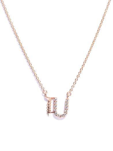 Aamaya by Priyanka Screw U rose gold-plated necklace