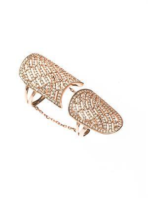White-topaz & rose gold-plated ring