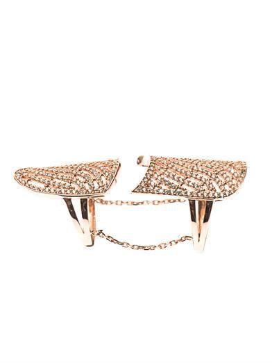 Aamaya by Priyanka White-topaz & rose gold-plated ring