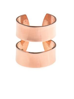 Double-band rose gold-plated ring