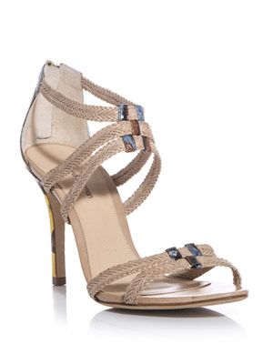 Raffia and leather sandals