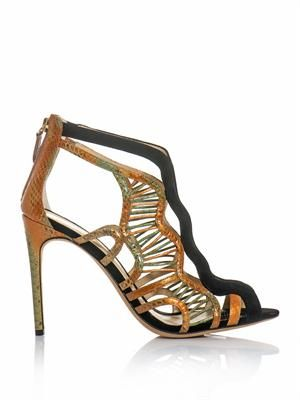 Watersnake and suede sandals