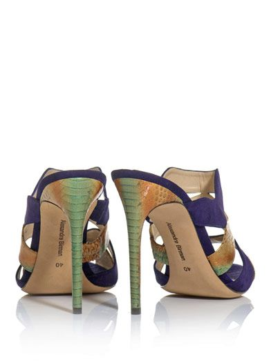 Alexandre Birman Watersnake and suede mule sandals
