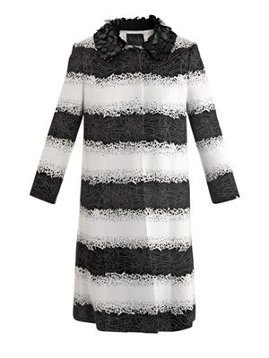 Embellished collar broken-jewellery print coat