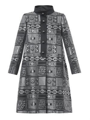 Chain-jacquard A-line coat