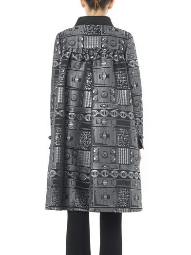 Giles Chain-jacquard A-line coat