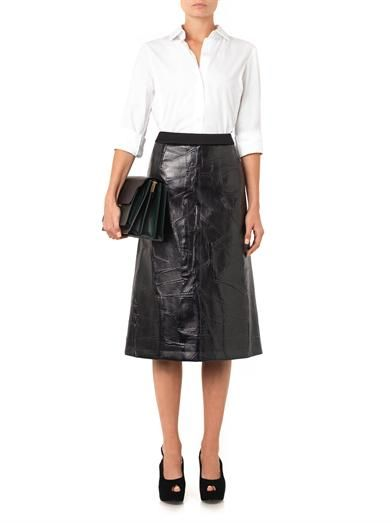 Giles Leather-effect jacquard skirt
