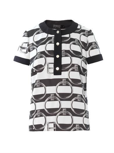 Giles Stripe jacquard round-neck blouse