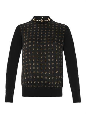 Stud-print and collar detail blouse