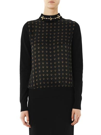 Giles Stud-print and collar detail blouse
