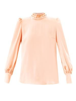 Spike collar satin blouse