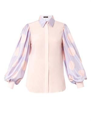 Polka-dot sleeve silk shirt