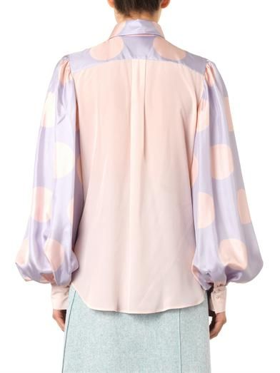Giles Polka-dot sleeve silk shirt