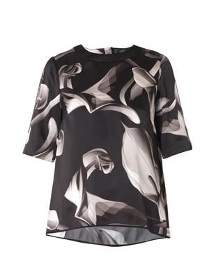 Calla Lily-print silk blouse