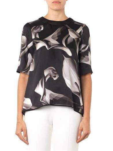 Giles Calla Lily-print silk blouse