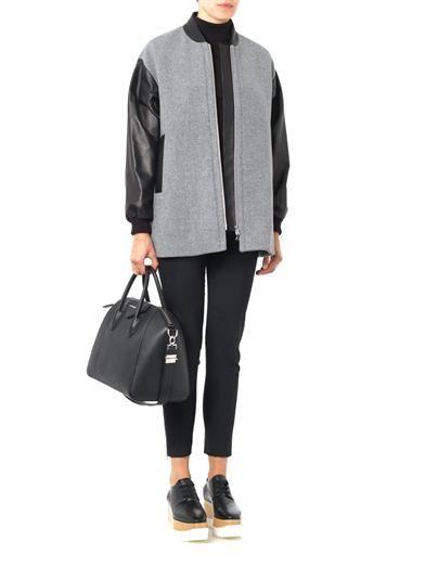 Giles Leather-sleeve wool jacket