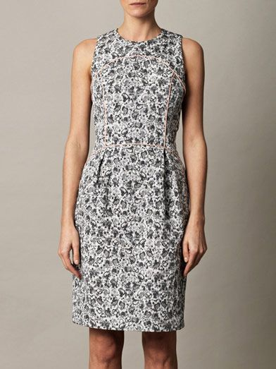 Giles Contrast binding jacquard dress