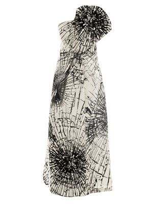 Broken-jewellery print strapless dress