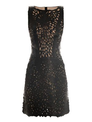 Laser-cut leather dress