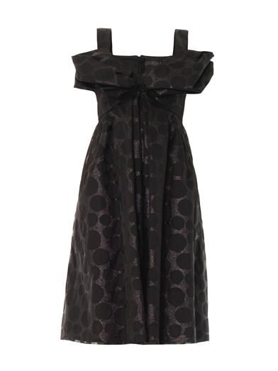 Giles Polka-dot jacquard bow dress