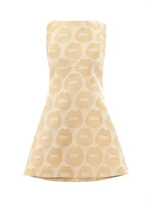 Lips-jacquard sleeveless dress