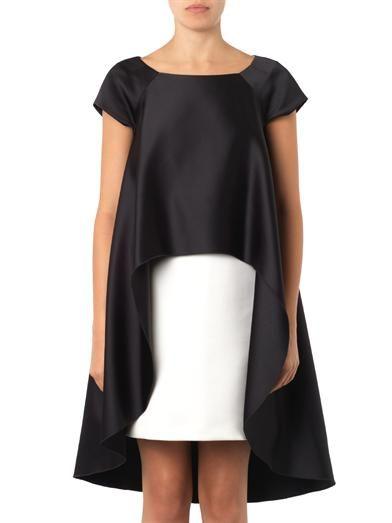 Giles Bi-colour duchess-satin dress