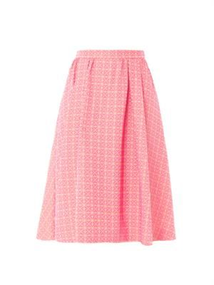 Screw pois jacquard pleated skirt