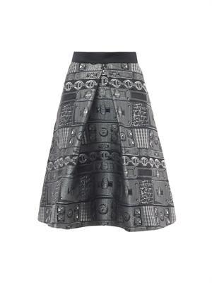 Chain jacquard A-line skirt