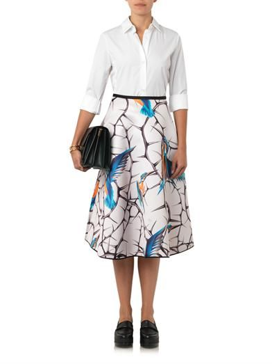 Giles Kingfisher-print A-line satin skirt