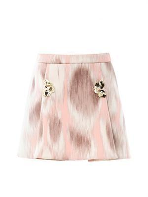 Ombré-print neoprene skirt