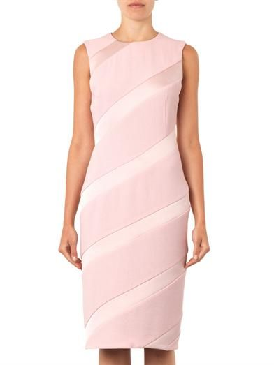 Giles Crepe and satin diagonally-striped dress