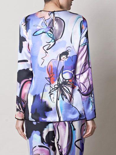 Giles Giles girls illustrated silk top