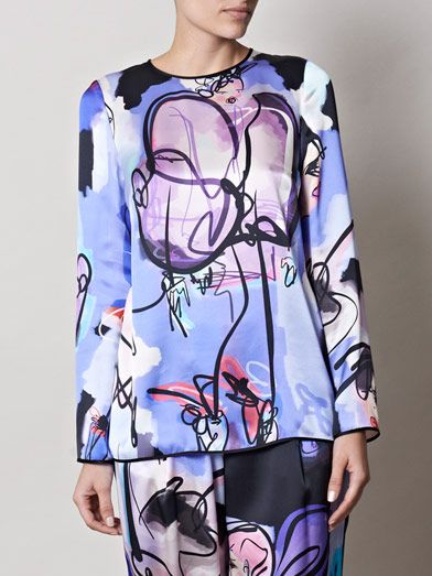 Giles Giles girls illustrated silk top