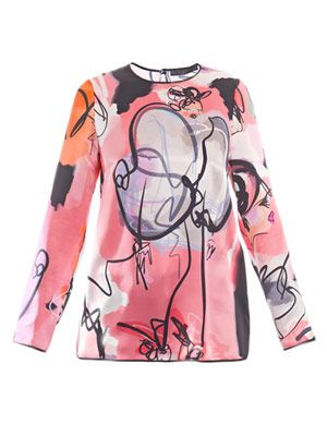 Giles girls illustrated silk top