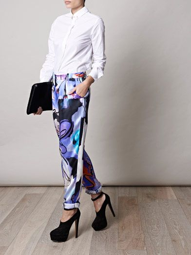 Giles Giles girls illustrated silk trousers