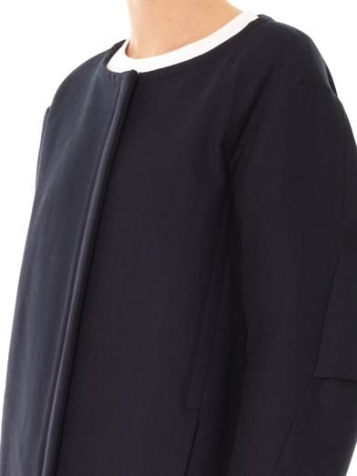 Jil Sander Navy Collarless swing coat