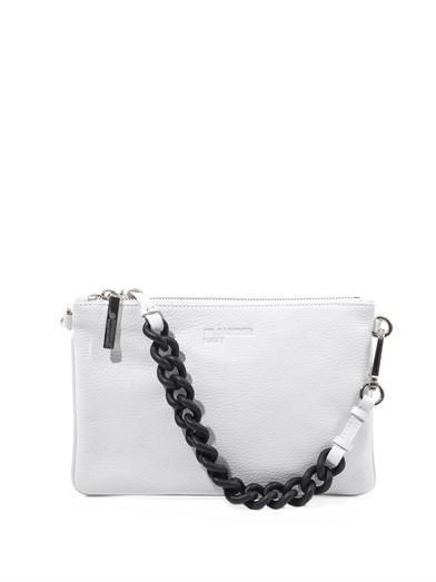 Jil Sander Navy Rubber-chain and leather clutch