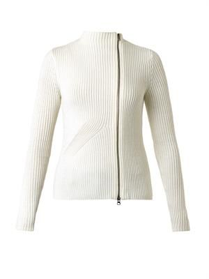 Ribbed-knit wool cardigan