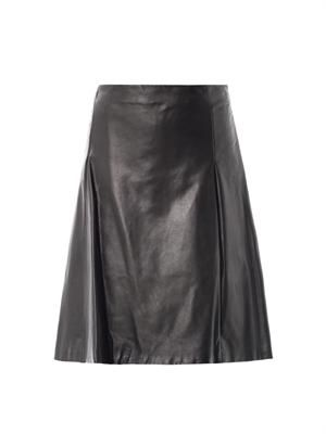 A-line pleated leather skirt