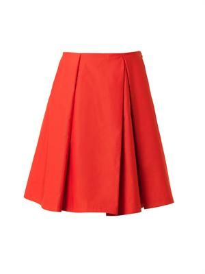 Pleated micro-faille skirt
