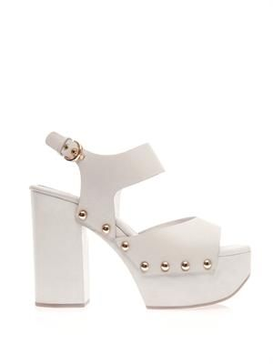 Block-heel leather sandals